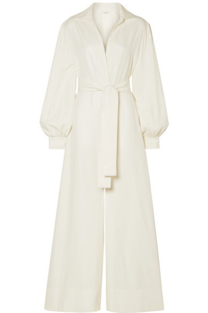 Co - Belted Twill Jumpsuit - Ivory