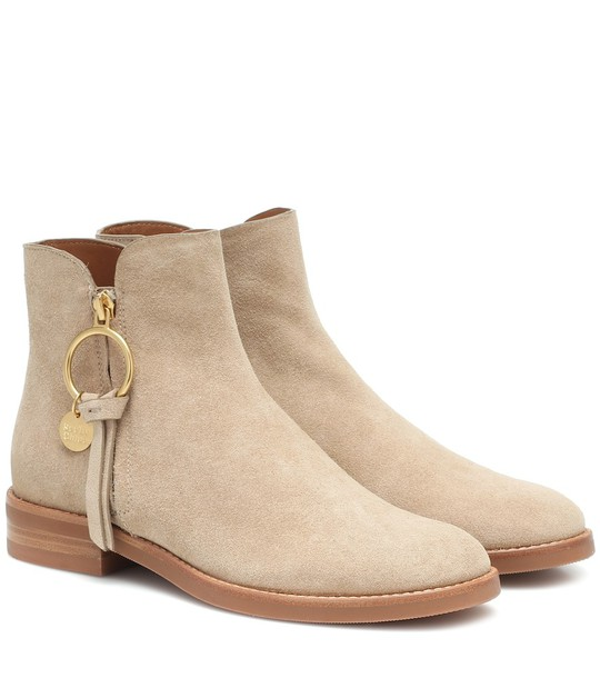 See By Chloé Louise Flat suede ankle boots in beige