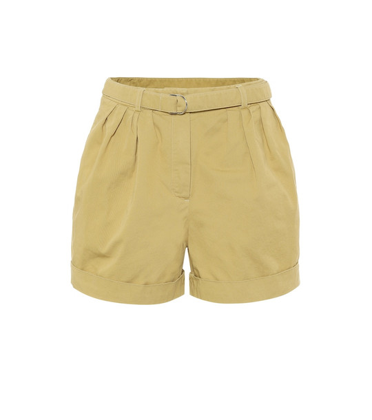 Acne Studios High-rise cotton-twill shorts in beige