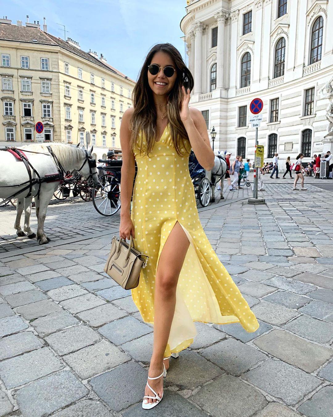 dress, maxi dress, yellow dress, polka