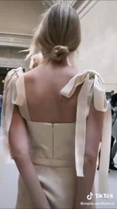 dress,champagne dress,silk,satin,tie shoulder dress,jumpsuit,tie jumpsuit,paris,paris fashion week