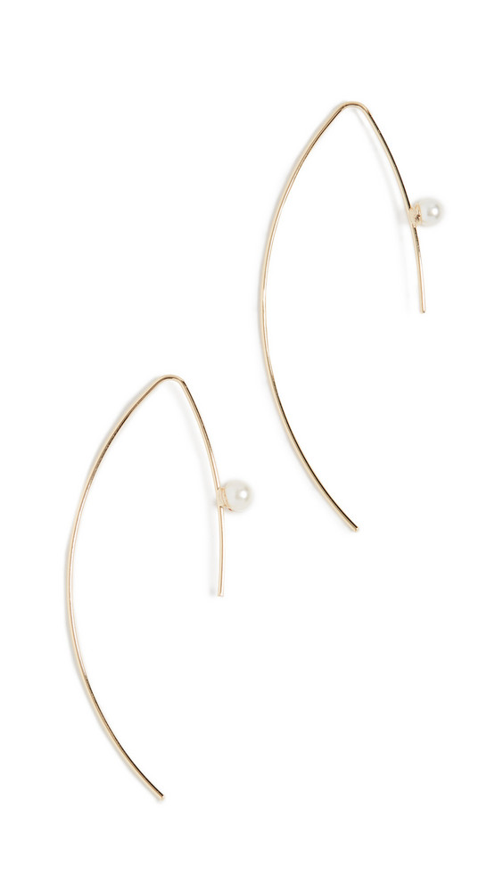 Jules Smith Cultured Pearl Threader Earrings in gold / yellow