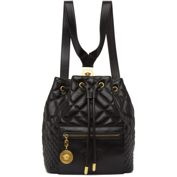 Versace Black Quilted Medusa Backpack