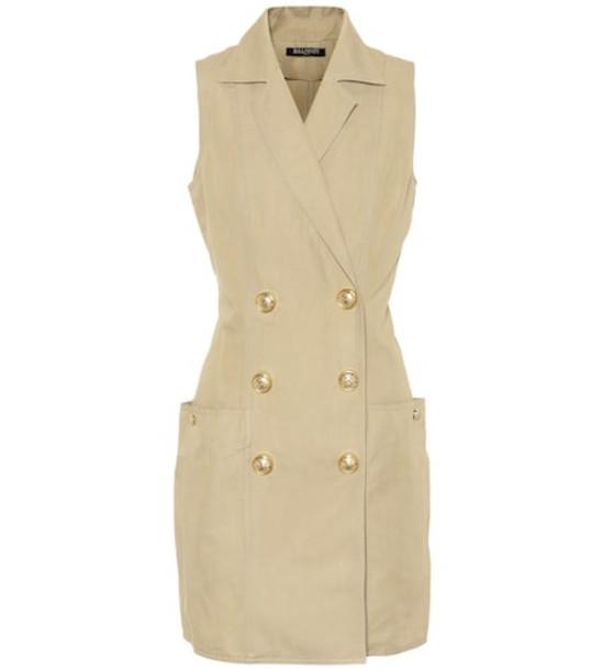 Balmain Cotton and linen minidress in beige / beige