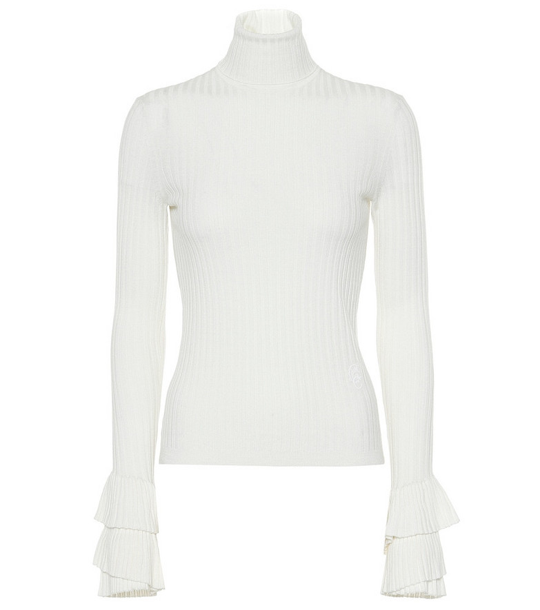 Chloé Ribbed wool turtleneck sweater in white