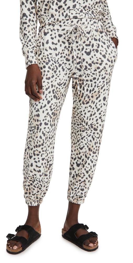 SUNDRY Leopard High Waist Pants in cream