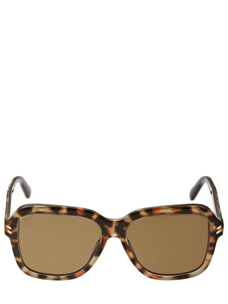 STELLA MCCARTNEY Squared Acetate Sunglasses in brown / leopard