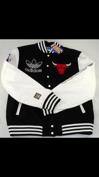 coat chicago bulls adidas black white jacket adidas chicago bulls