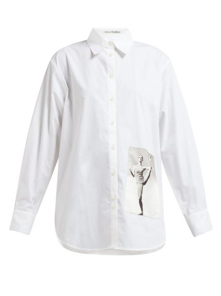 Acne Studios - Carolyn Brown Print Cotton Poplin Shirt - Womens - White