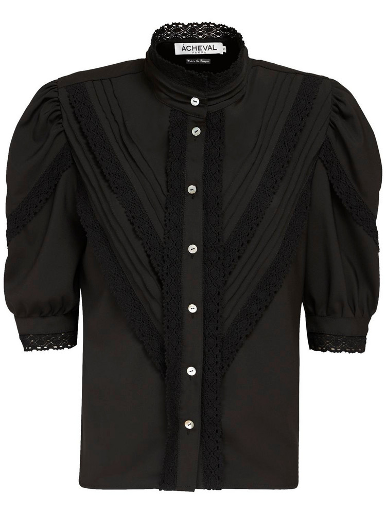 ÀCHEVAL PAMPA Yegua Stretch Cotton Satin Shirt in black