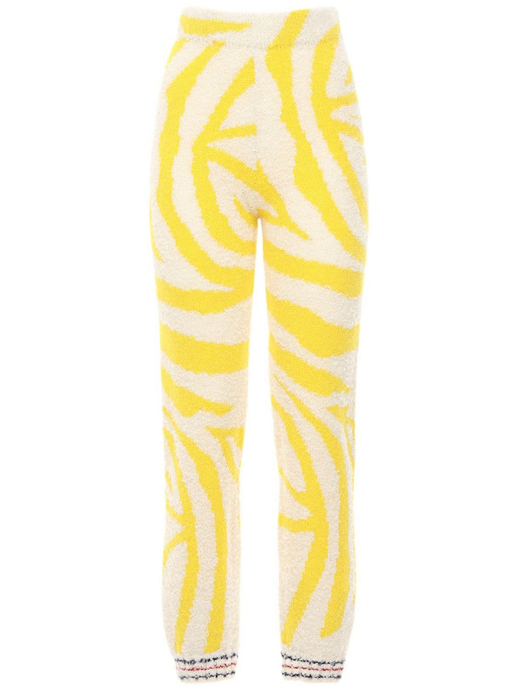 GUDRUN & GUDRUN Antigonee Jacquard Alpaca Knit Pants in white / yellow