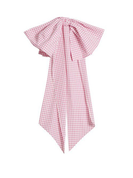 Dovima Paris - Romy Bow Embellished Gingham Cotton Belt - Womens - Pink White