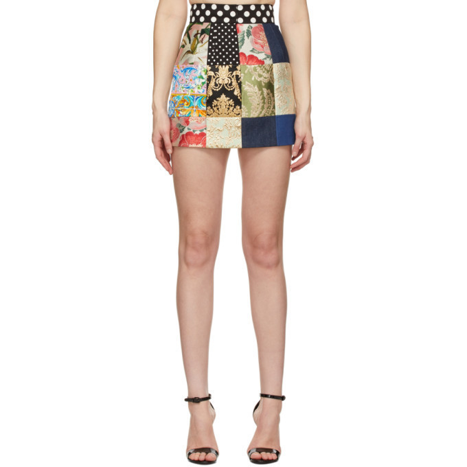 Dolce and Gabbana Multicolor Patchwork Miniskirt in multi