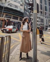 skirt,midi skirt,high waisted skirt,black boots,knee high boots,white turtleneck top,sleeveless,dior bag