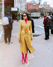 coat,long coat,plaid,double breasted,pink boots,ankle boots,tights,turtleneck