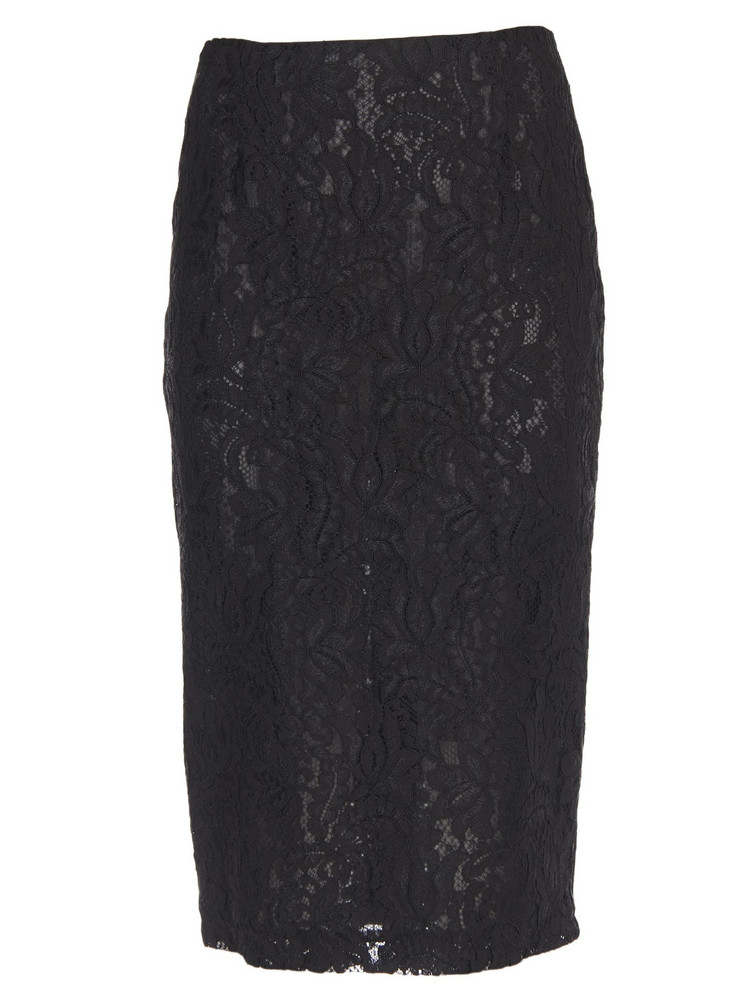 Brognano Embroidered Lace Skirt in black