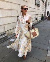 dress,maxi dress,shirt dress,floral dress,h&m,woven bag,maxi bag,ballet flats