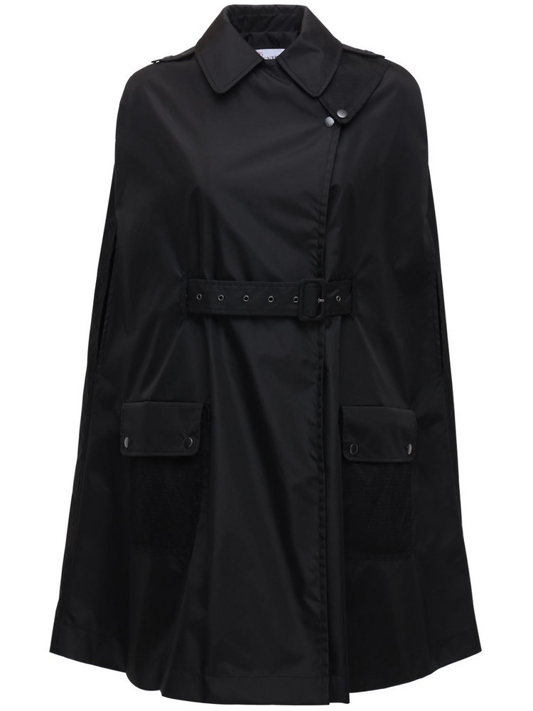 RED VALENTINO Coated Nylon Cape W/ Point D'esprit in black