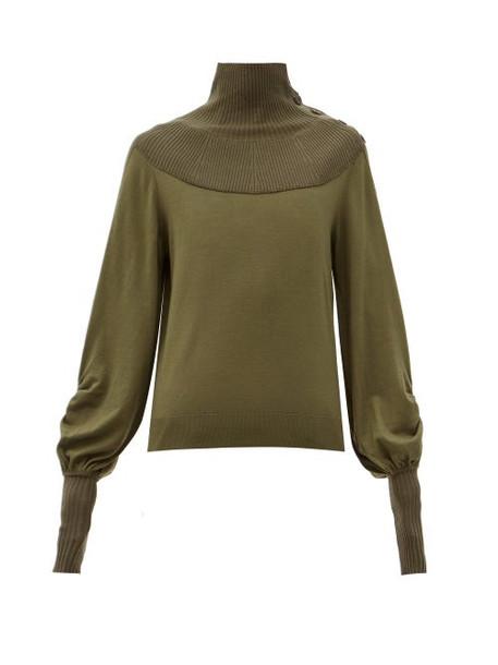Chloé Chloé - Ribbed High-neck Balloon-sleeve Wool Sweater - Womens - Khaki