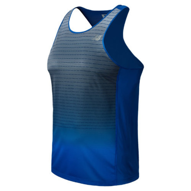 New Balance 5127 Men's Accelerate Singlet Graphic - Optic Blue, Anthracite (MRT5127OTB)