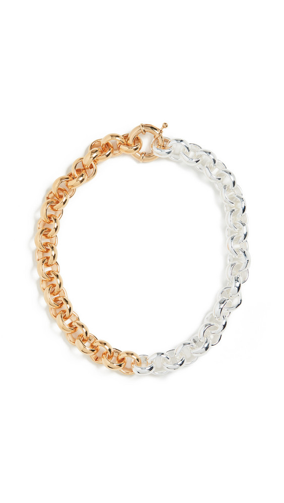 Timeless Pearly Two Tone Chain Choker in gold / silver