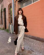 pants,high waisted pants,ralph lauren,pleated,pumps,leopard print,blazer,white sweater,turtleneck sweater,black bag