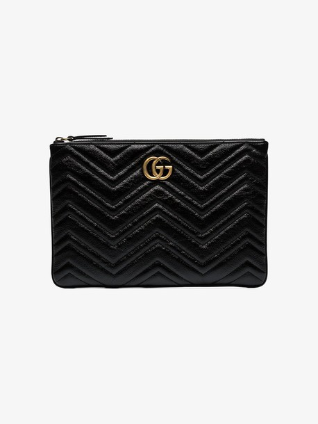 Gucci black quilted leather clutch bag