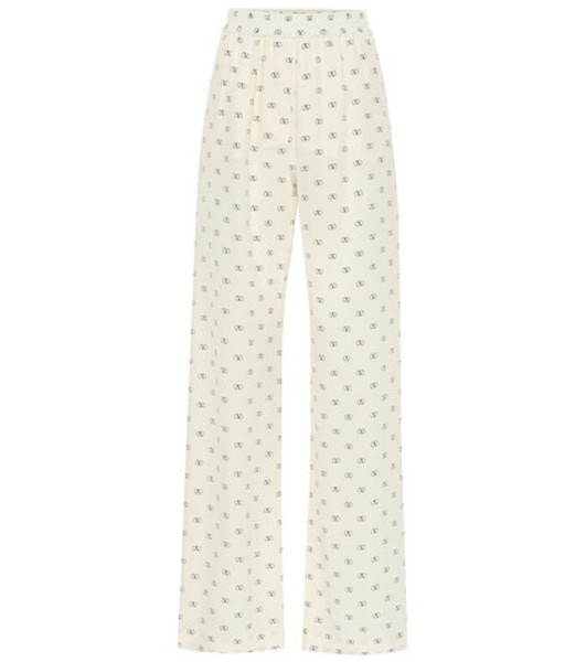 Valentino Mini VLOGO silk wide-leg pants in white