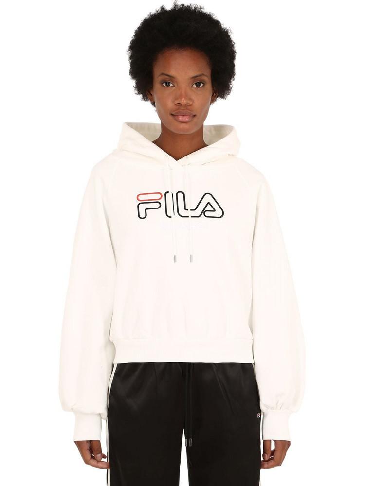 FILA URBAN Logo Embroidered Crop Sweatshirt Hoodie in white