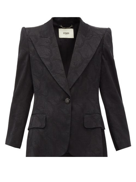 Fendi - Singled-breasted Floral-jacquard Silk Blazer - Womens - Black