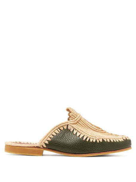 Kilometre Paris - Barbouches Raffia And Leather Backless Loafers - Womens - Dark Green