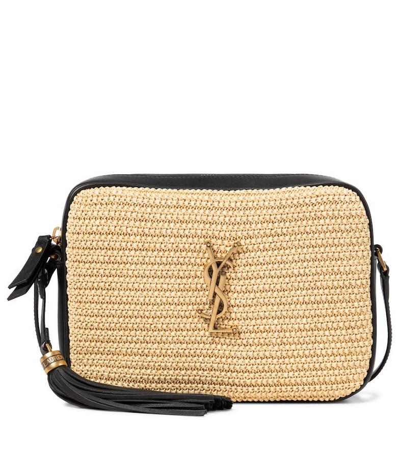 Saint Laurent Lou Camera raffia crossbody bag in beige