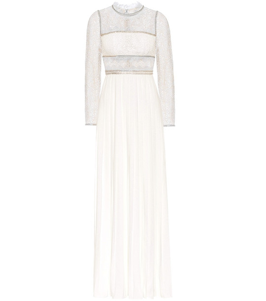 Self-Portrait Embellished lace maxi dress in white