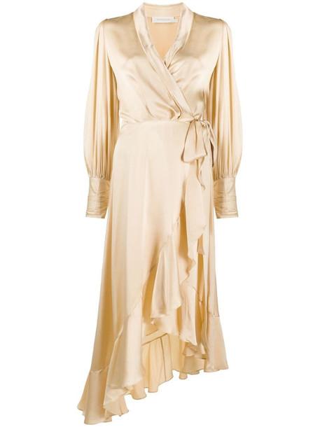 Zimmermann wrap-style midi dress in neutrals