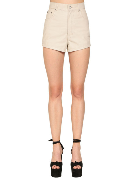 SAINT LAURENT High Waist Leather Shorts in white
