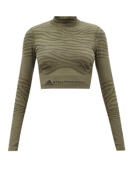 Adidas By Stella Mccartney - Zebra-stripe Cropped Top - Womens - Khaki Stripe