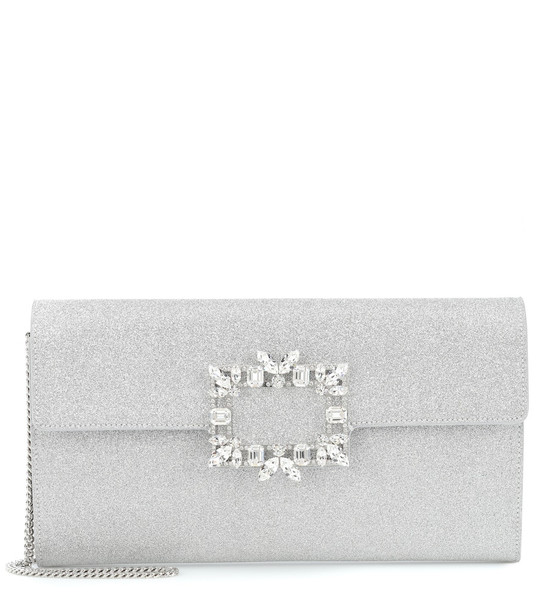 Roger Vivier Evening Envelope embellished clutch in silver