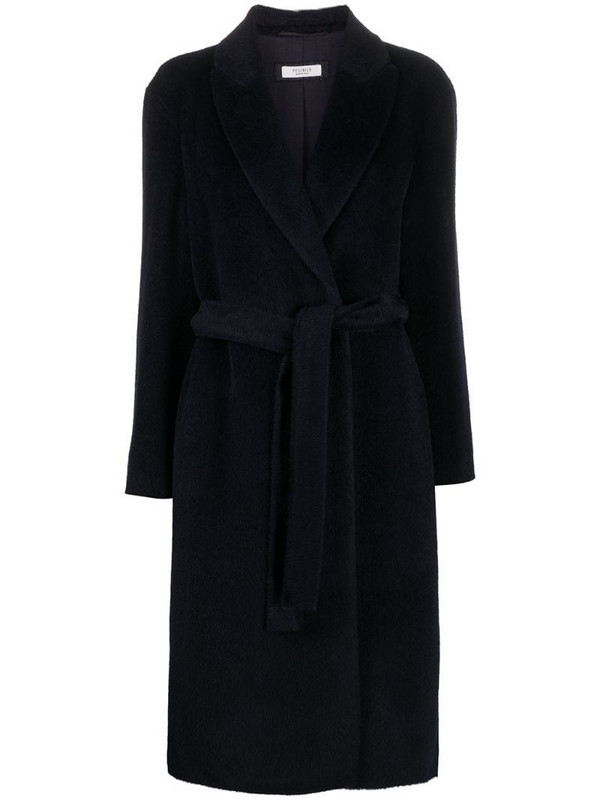 Peserico belted long-sleeve coat in blue