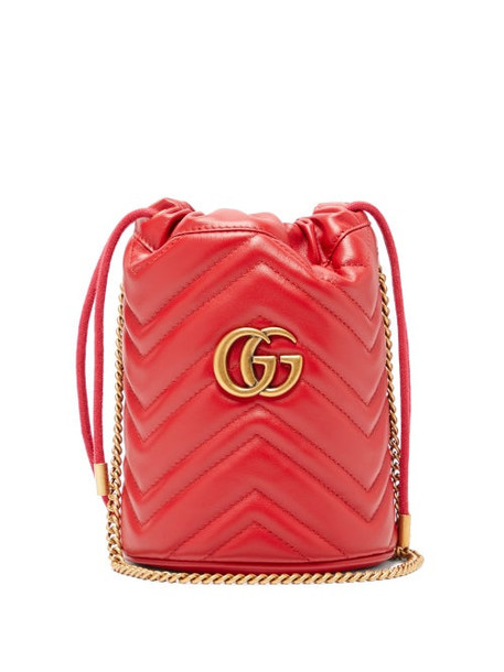 Gucci - Gg Marmont Leather Bucket Bag - Womens - Red