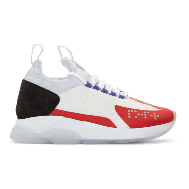 Versace White & Red Chain-Prene Reaction Sneakers
