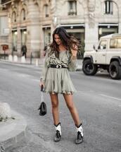 dress,mini dress,long sleeve dress,ankle boots,cowboy boots,black belt,black bag