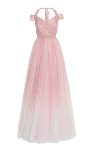Jenny Packham Cindy Glittered Gradient Chiffon Off-The-Shoulder Gown in multi