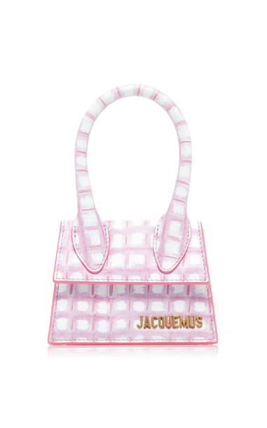 Jacquemus Le Chiquito Checked Leather Bag in pink