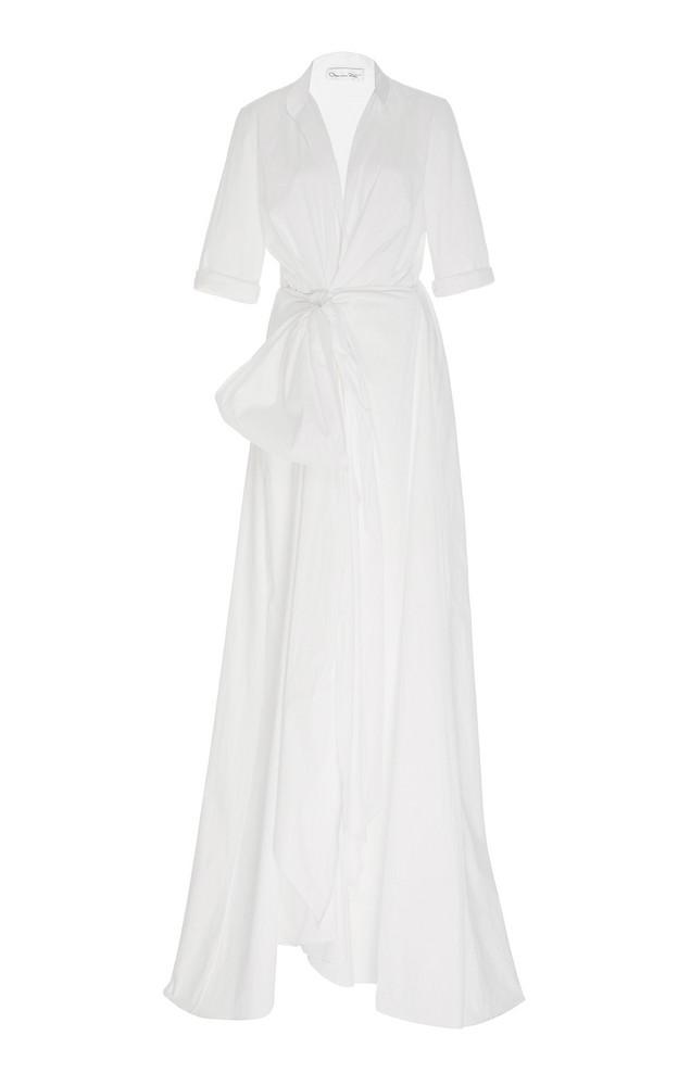 Oscar de la Renta Draped Cotton-Poplin Romper in white