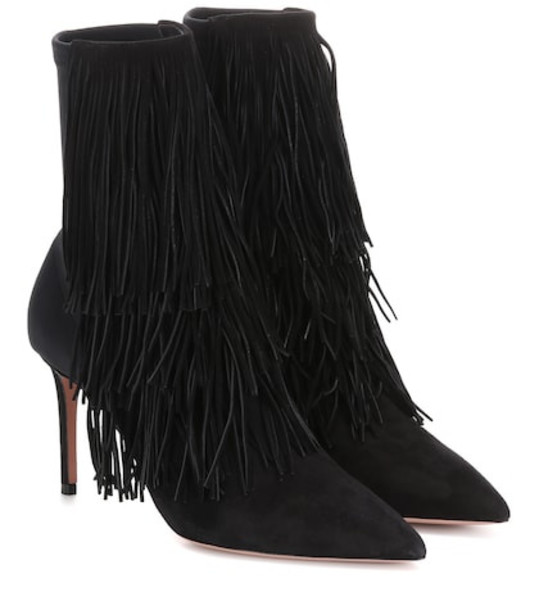 Aquazzura Shake Stretch 85 suede ankle boots in black