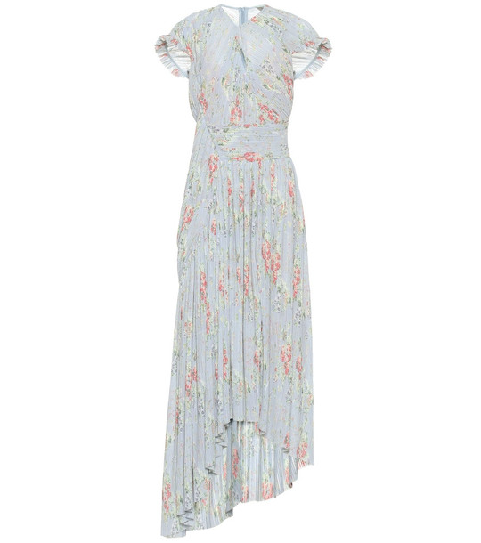 Preen by Thornton Bregazzi Julia pleated floral georgette dress in blue