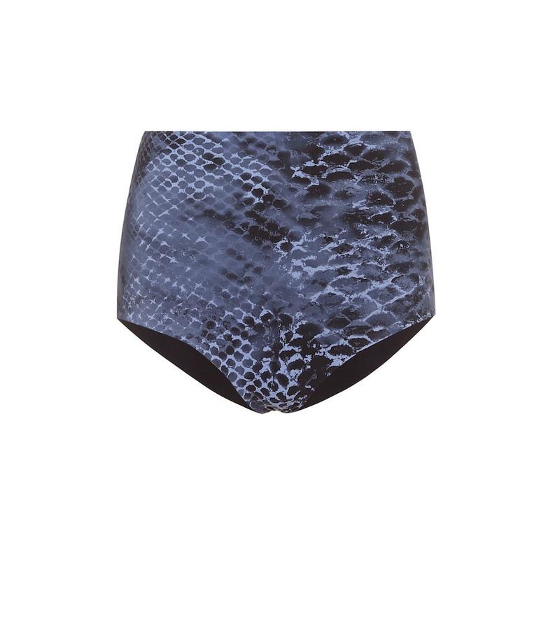 Karla Colletto Bree snakeskin-print high-rise bikini bottoms in blue