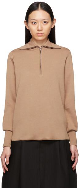 Studio Nicholson Brown Auguste Half-Zip Sweater in camel