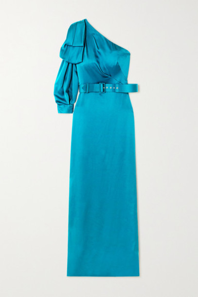 Peter Pilotto - One-sleeve Bow-detailed Belted Satin Gown - Blue
