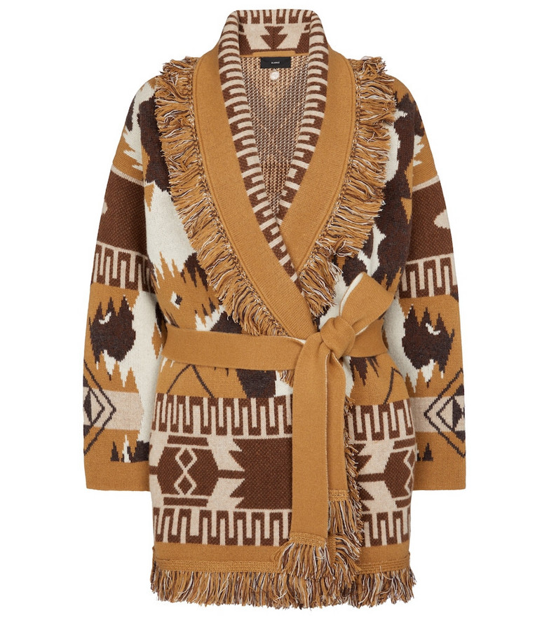 Alanui Cowhide Icon wool and cashmere cardigan in beige